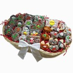 Very Merry Gourmet Gift Basket includes Belgian Chocolate and Caramel Hand Dipped cookies and brownies.