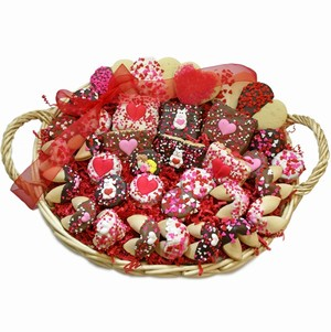 Sweethearts Valentine Gourmet Bakery Gift Basket - Filled with Lady Fortunes Belgian Chocolate and Caramel Hand Dipped treats....