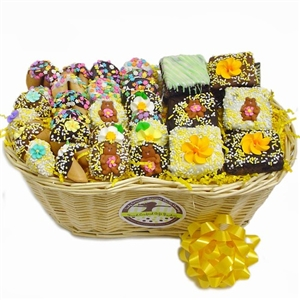 Spring Sweets Gourmet Gift Basket - Chocolate covered confections decorated in bright spring colors