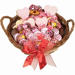 Sweethearts Valentine Gourmet Bakery Gift Basket - Filled with Belgian Chocolate Dipped Baked Goods and other Bakery Treats
