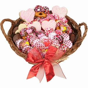 Sweethearts Valentine Gourmet Bakery Gift Basket - Filled with Lady Fortunes Chocolate Dipped and other Bakery Treats