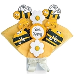 Bee Shaped Cookie Bouquet with Personalized Text - Choose our 5, 7, 9 or 12 piece arrangement of Decorated Sugar Cookies.
