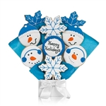 Snowman and snowflake shaped and Decorated Iced Sugar cookies arranged in a beautiful bouquet in Blue theme. Choose our 5, 7, 9 or 12 piece arrangement.