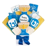 Hanukkah themed shaped Iced Sugar cookies arranged in a beautiful bouquet. Choose our 5, 7, 9 or 12 piece arrangement.