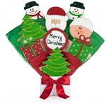 Christmas Shaped and Decorated Sugar cookies arranged in a beautiful bouquet. Choose our 5, 7, 9 or 12 piece arrangement of Christmas Cookie Blooms.