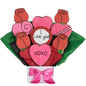 Lovely Hearts Cookie Bouquet - Choose our 5, 7, 9 or 12 piece arrangement of Hear Cookies.
