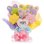 Flowers Cookie Bouquet with customized text on one cookie. Choose our 5, 7, 9 or 12 piece arrangement of Flower Sugar Cookies.