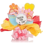 Purses, Crowns, Flowers and Hearts Shaped Cookies Bouquet with Personalized Text - Choose our 5, 7, 9 or 12 piece arrangement of Decorated Sugar Cookies.