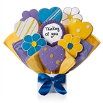 Cookie Bouquet arrangement of Iced Sugar Cookies shaped like daisies and hearts. Personalizable.