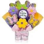 Butterflies and Flowers Shaped Cookie Bouquet with Personalized Text - Choose our 5, 7, 9 or 12 piece arrangement of Decorated Sugar Cookies.