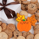 3 Autumn Themed Iced Cookies in a box of 12 assorted cookies