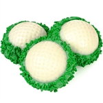 Golf Ball Chocolate Dipped Oreos - Oreo Cookies dipped in high quality Belgian Chocolates and decorated in green and white to look like golf balls.