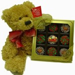 Christmas Decorated Oreos and Large Teddy Bear - Box of 9 Chocolate Dipped Oreos and Russ Teddy Bear with Holiday Ribbon