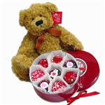 Valentine Oreos and Russ Teddy Bear - The perfect pair a Teddy Bear and Chocolate Covered Oreos