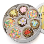 Spring Edition Oreo Cookies Tin - Chocolate Dipped Oreos; dipped in delicious Belgian Chocolates and decorated with assorted designer toppings.