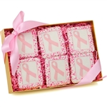 White Belgian Chocolate Covered Graham Cookies with Pink Breast Cancer Ribbon