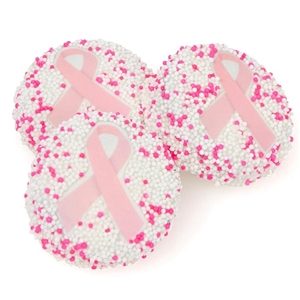 Chocolate Covered Oreos with Pink Breast Cancer Awareness Decorations