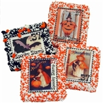 Box of 12 White Belgian Chocolate covered graham crackers with vintage Halloween postage stamp images.