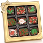 Christmas Chocolate Dipped Mini Crispy Rice Bars - Window Gift Box of 9