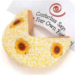Giant Fortune Cookie dipped in white Belgian chocolate and decorated with sunflower candies.