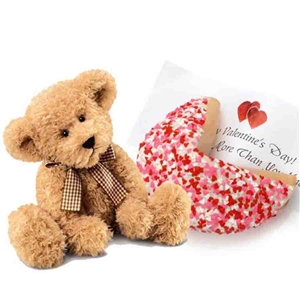 Romantic Fortune Cookie and Teddy Bear - The perfect pair a Teddy and Giant Fortune Cookie with Heart Sprinkles.
