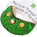 St Patricks Day Fortuen Cookie - Includes your message inside as a 1 ft long fortune. Giant Fortune Cookie is dipped in your choice of chocolate toppings and adorned with tasty green sprinkles.