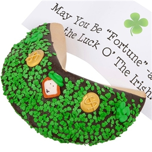 St. Patrick's Day Fortune Cookie - Includes your message inside as a 1 ft long fortune. Giant Fortune Cookie is dipped in your choice of chocolate toppings and adorned with green shamrocks.