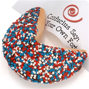Giant Fortune cookie decorated in a Patriotic theme with red, white and blue stars