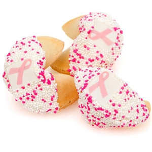 Fortune Cookies dipped in white Belgian Chocolate and decorated for breast cancer awareness.