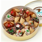 Round acetate box of 12 hand dipped fortune cookies with holiday messages inside.