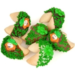 Saint Patrick's Day Wheel of Fortune Cookies - A collection of Lady Fortune dipped fortune cookies decorated with elfs and clovers for Saint Patricks Day.