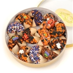 Round Gift Box of 12 Halloween Themed Fortune Cookies