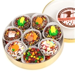 Oreo cookies dipped in delicious Belgian Chocolates and decorated with assorted designer Thanksgiving theme toppings.
