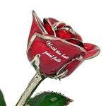Personalized Color Rose with Platinum Trim - Add A Message and Choose Colors