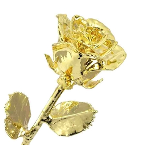 Long Stem Gold Dipped Rose with Real 24 K - Gold, Platinum and Silver Gold Roses