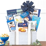 White wooden Gift Crate with a Thank You card and bountiful gourmet foods