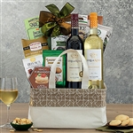 A canvas basket with gourmet treats and two bottles of wine from Stella Rosa winery.