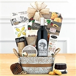 Metal silver print basket with gourmet treats and a bottle of Silver Oak Alexander Valley Cabernet