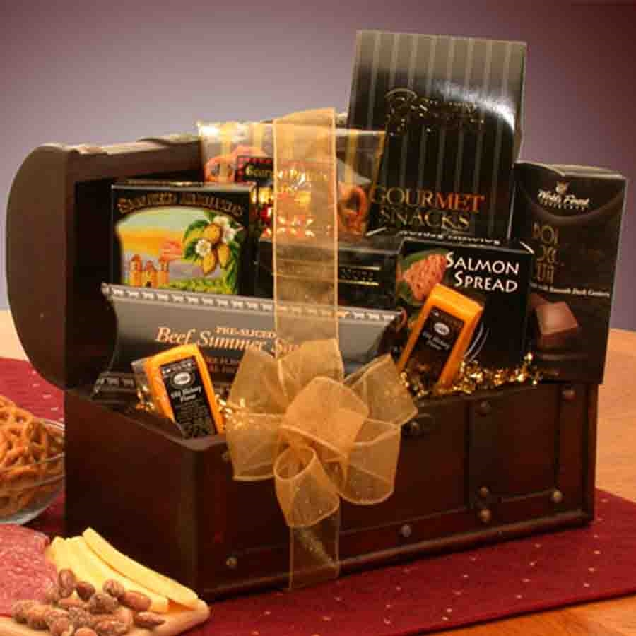 Gourmet Food Connoisseur Treasure Chest Gift Basket
