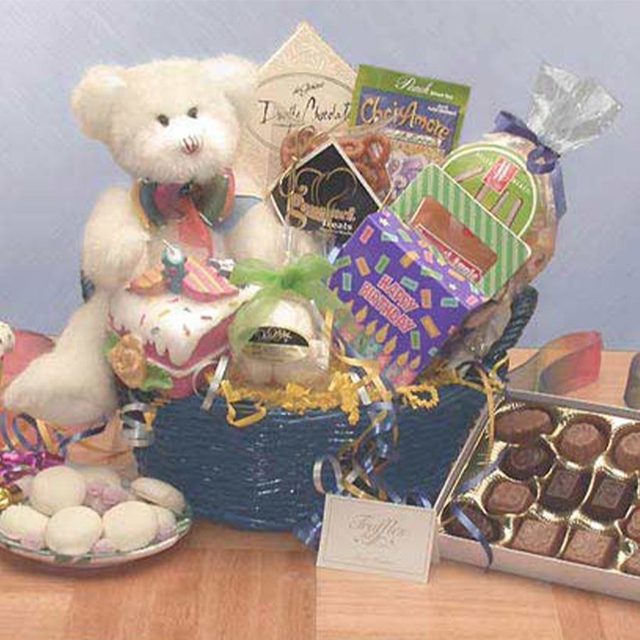 This little bear in a gift basket comes to say Have a Beary Happy Birthday! He brings candy, chocolates, cookies and other birthday treats and a cake-slice candle to light on your special day! Send someone you love the Have a Beary Happy Birthday gift bas #gift