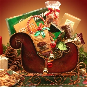 Seasons Greetings Holiday Sleigh Basket